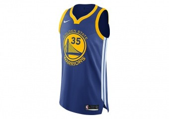 NIKE NBA GOLDEN STATE WARRIORS KEVIN DURANT AUTHENTIC JERSEY ROAD RUSH BLUE