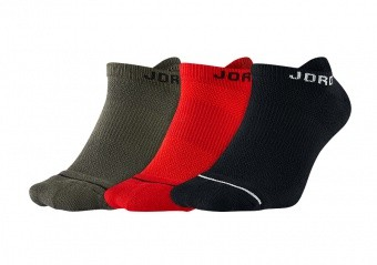 NIKE AIR JORDAN JUMPMAN NO-SHOW SOCKS BLACK UNIVERSITY RED RIVER ROCK