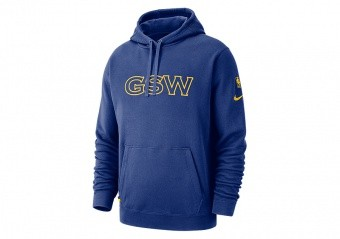 NIKE NBA GOLDEN STATE WARRIORS COURTSIDE HOODIE RUSH BLUE
