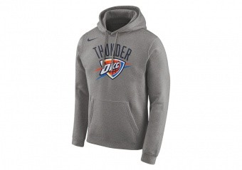 NIKE NBA OKLAHOMA CITY THUNDER LOGO HOODIE DARK GREY HEATHER