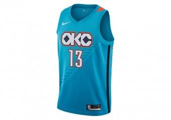 NIKE NBA PAUL GEORGE OKLAHOMA CITY THUNDER SWINGMAN JERSEY TIDAL BLUE