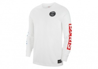 NIKE AIR JORDAN PSG PARIS SAINT-GERMAIN LONG-SLEEVE TEE WHITE HYPER COBALT