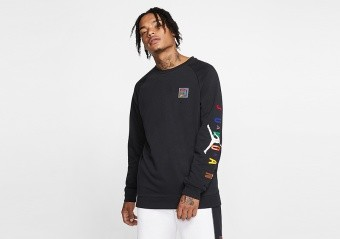 NIKE AIR JORDAN SPORT DNA FLEECE CREW BLACK