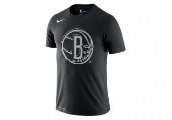 NIKE NBA BROOKLYN NETS LOGO DRI-FIT TEE BLACK