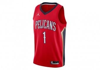 NIKE NBA NEW ORLEANS PELICANS ZION WILLIAMSON STATEMENT EDITION SWINGMAN JERSEY UNIVERSITY RED