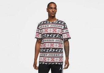 NIKE AIR JORDAN UGLY SWEATER CHRISTMAS CREW TEE UNIVERSITY RED
