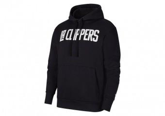 NIKE NBA LOS ANGELES CLIPPERS CITY EDITION LOGO PULLOVER FLEECE HOODIE BLACK