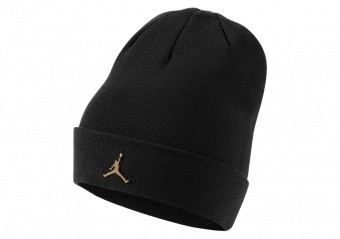NIKE AIR JORDAN JUMPMAN METAL CUFFED BEANIE BLACK